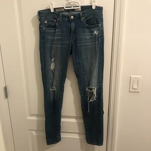 """AG """"The Legging Ankle"""" Distressed Skinny Jeans"""